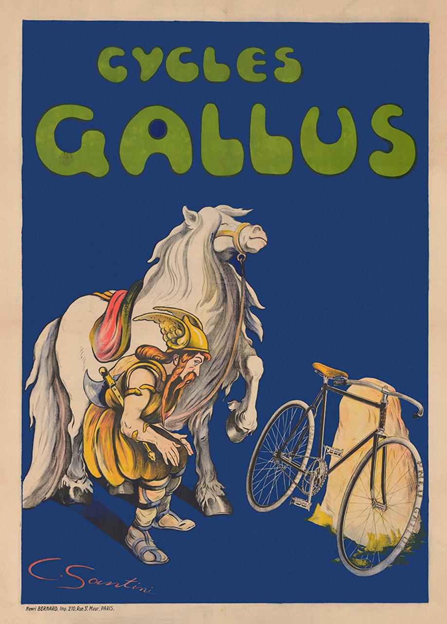 Cycles Gallus Original Vintage Bicycle Poster by Santini