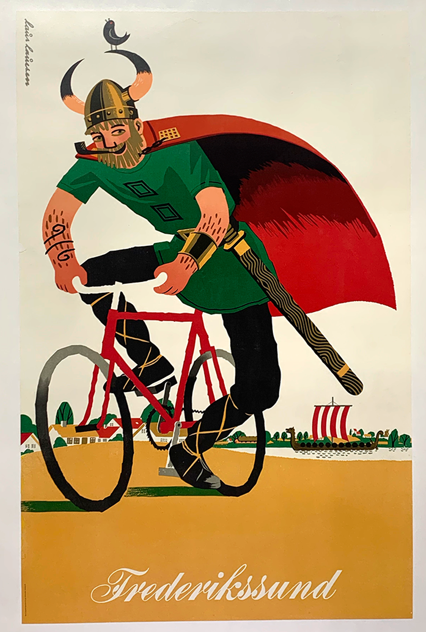 Viking on a Bicycle Original Vintage Poster
