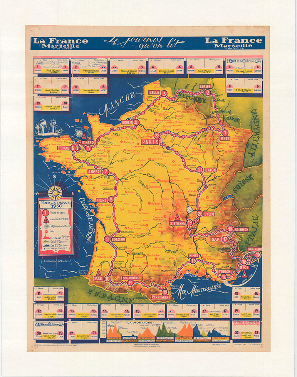 Original Vintage 1950 Tour de France Vintage La France Map Poster