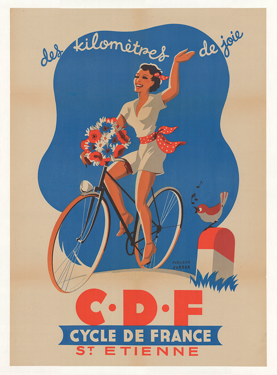 Cycle de France St Etienne Original Vintage Bicycle Poster