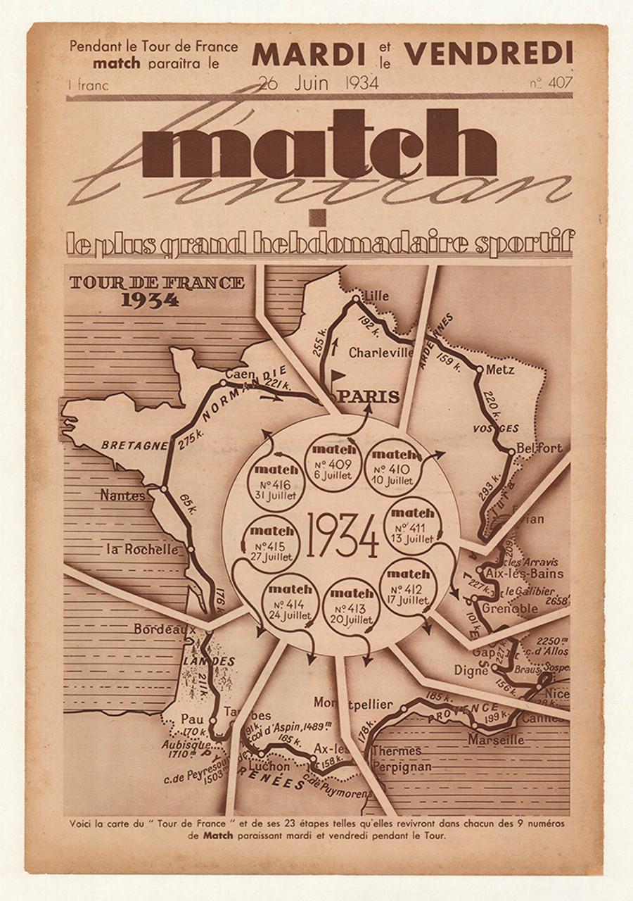 1934 Match Tour De France Original Vintage Bicycle Poster