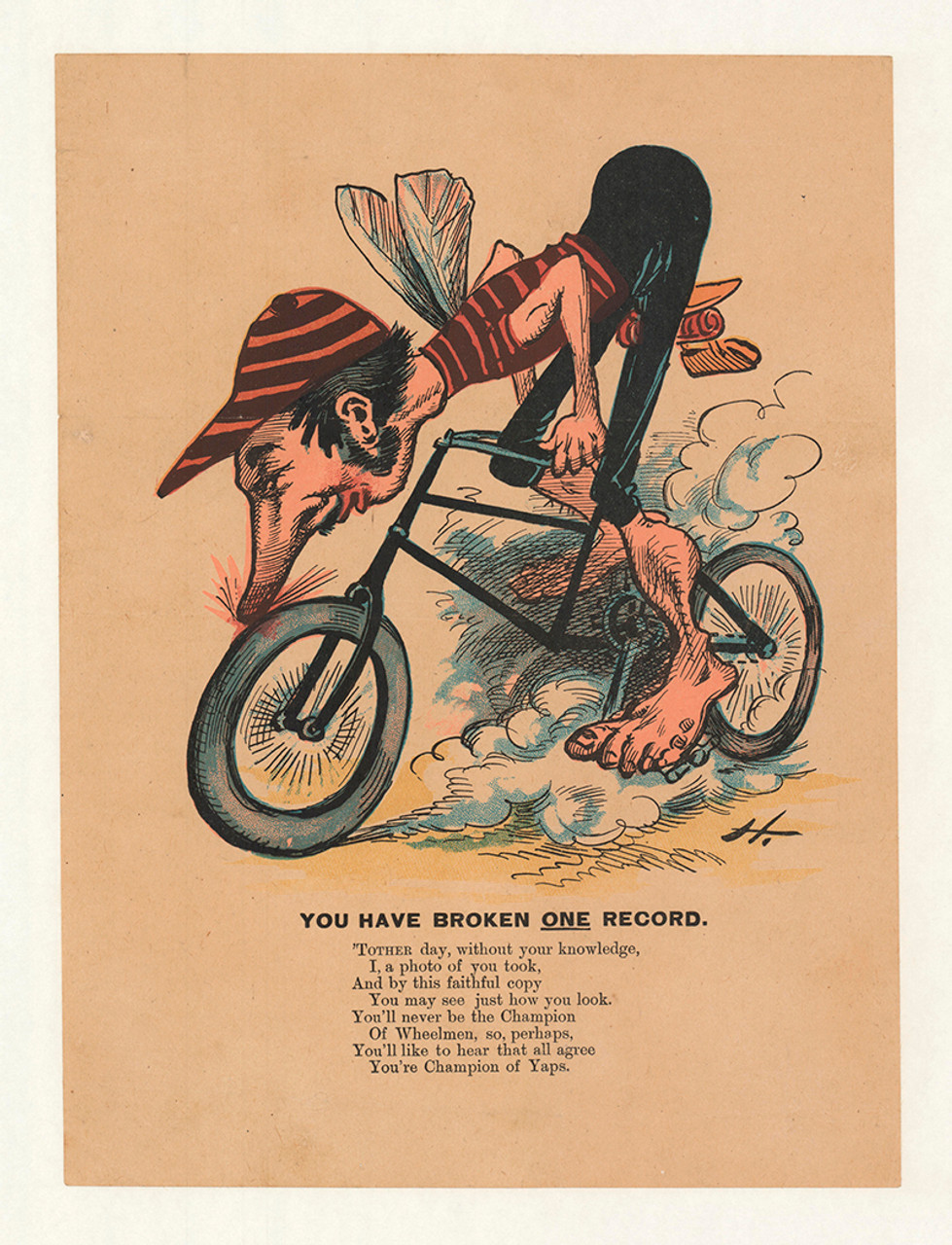 Champion of the Yaps 1890's anti cycling poster
