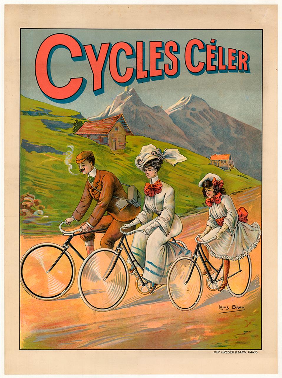 Cycles Celer Original Vintage Bicycle Poster by Brau