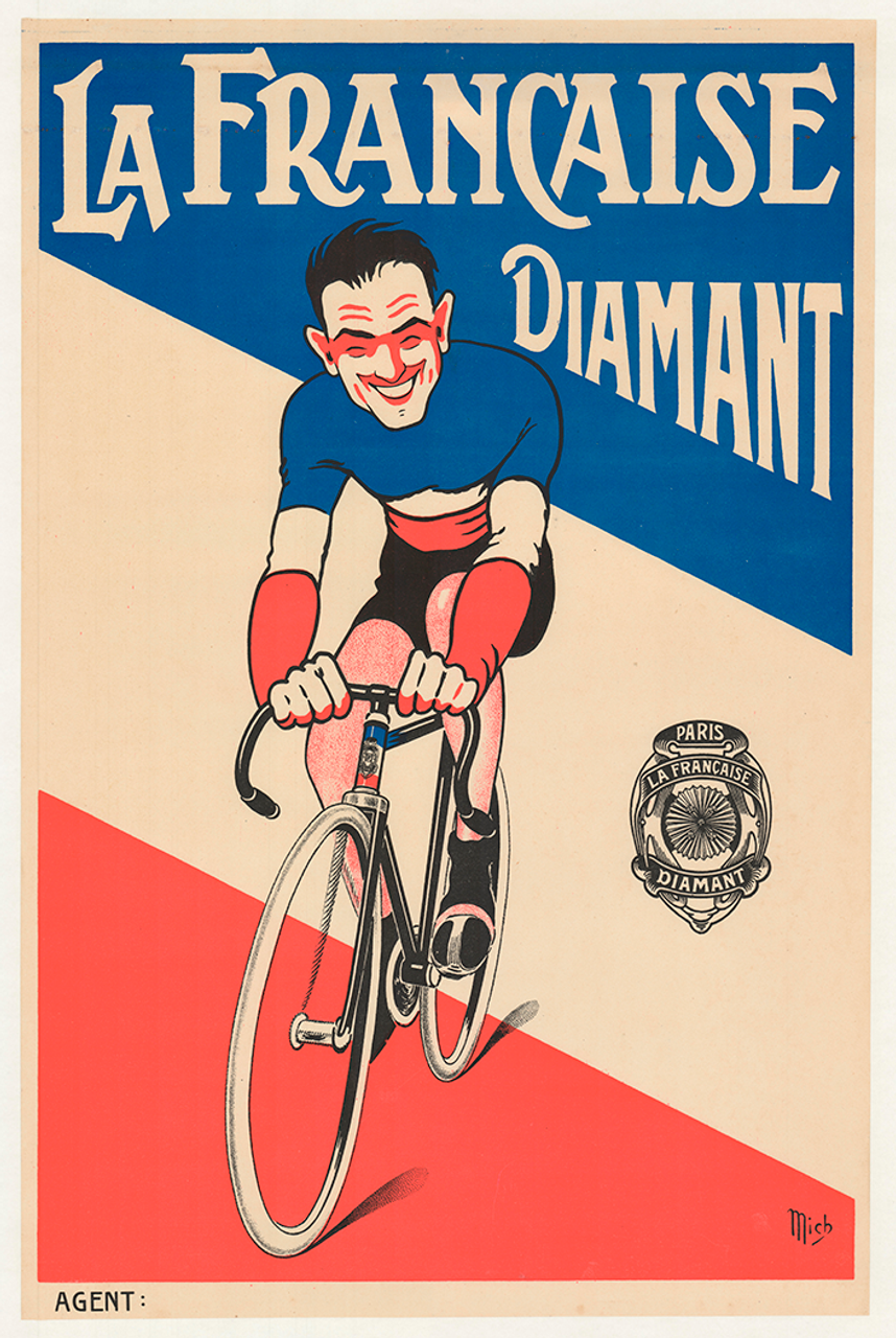 La Francaise Diamant Original Vintage Bicycle Poster by Mich