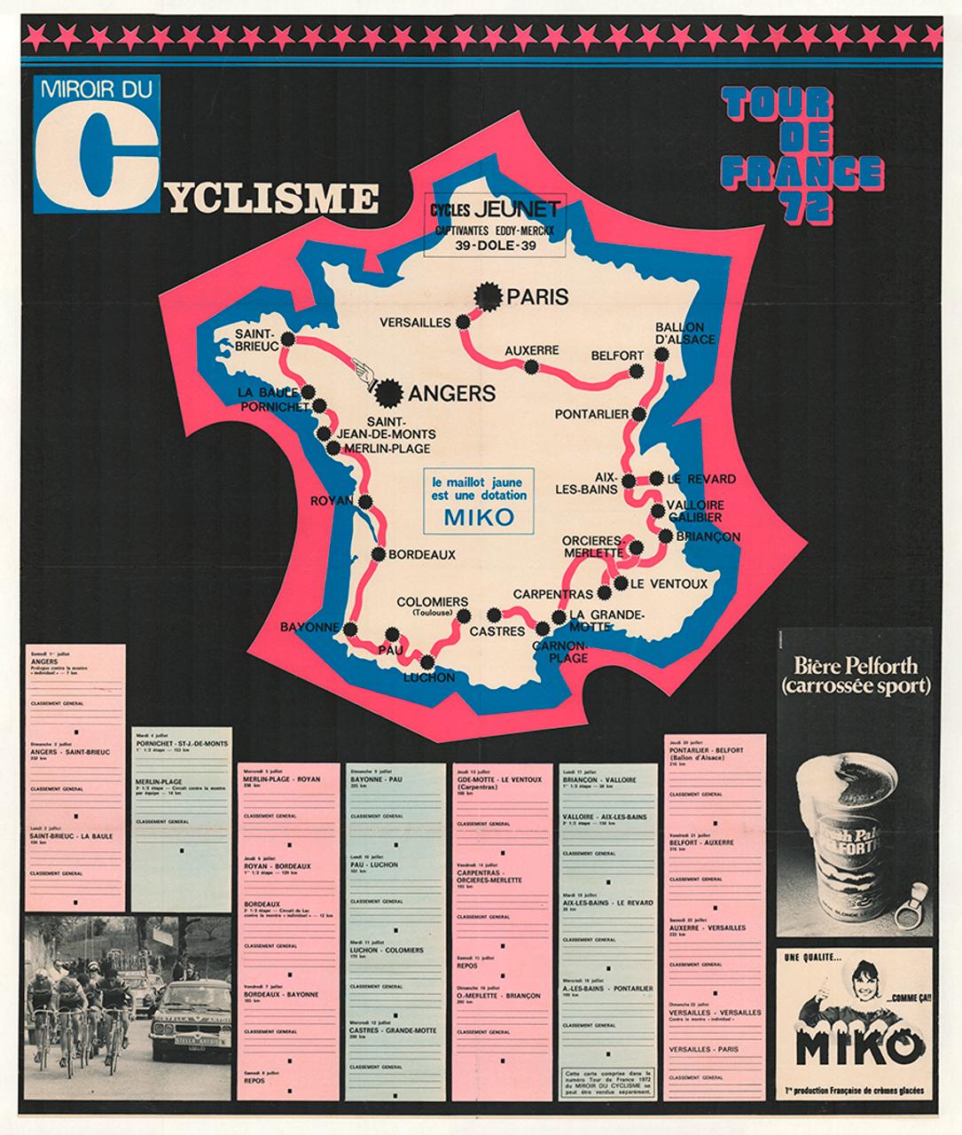 1972 Tour De France Miroir du Cyclisme Vintage Poster