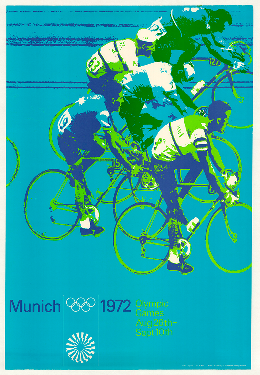 1972 Munich Olympics Cycling Original Vintage Bicycle Poster