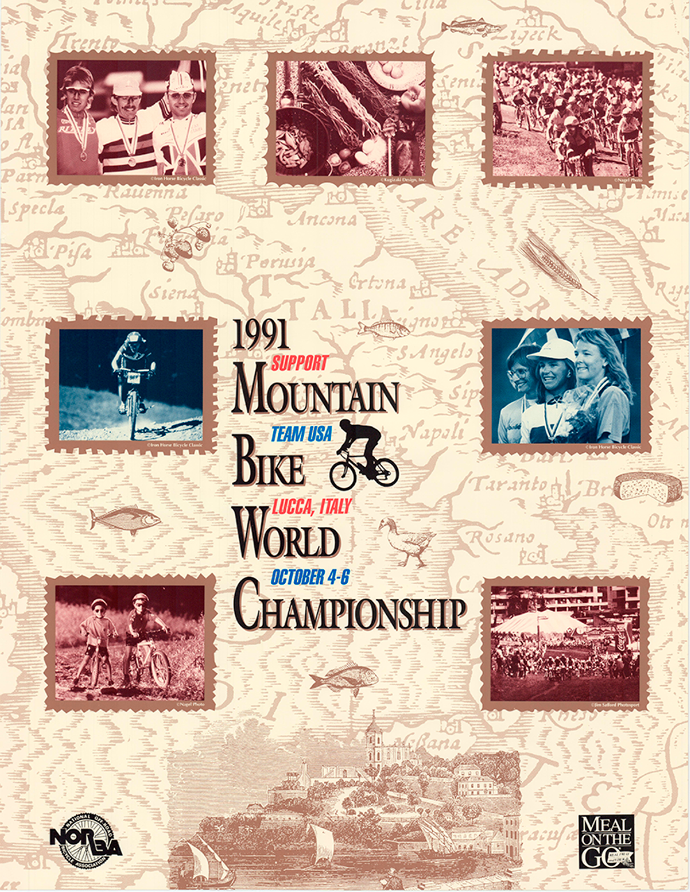 1991 World Mountain Bike Championships, Lucca Italy Original Vintage Bicycle Poster