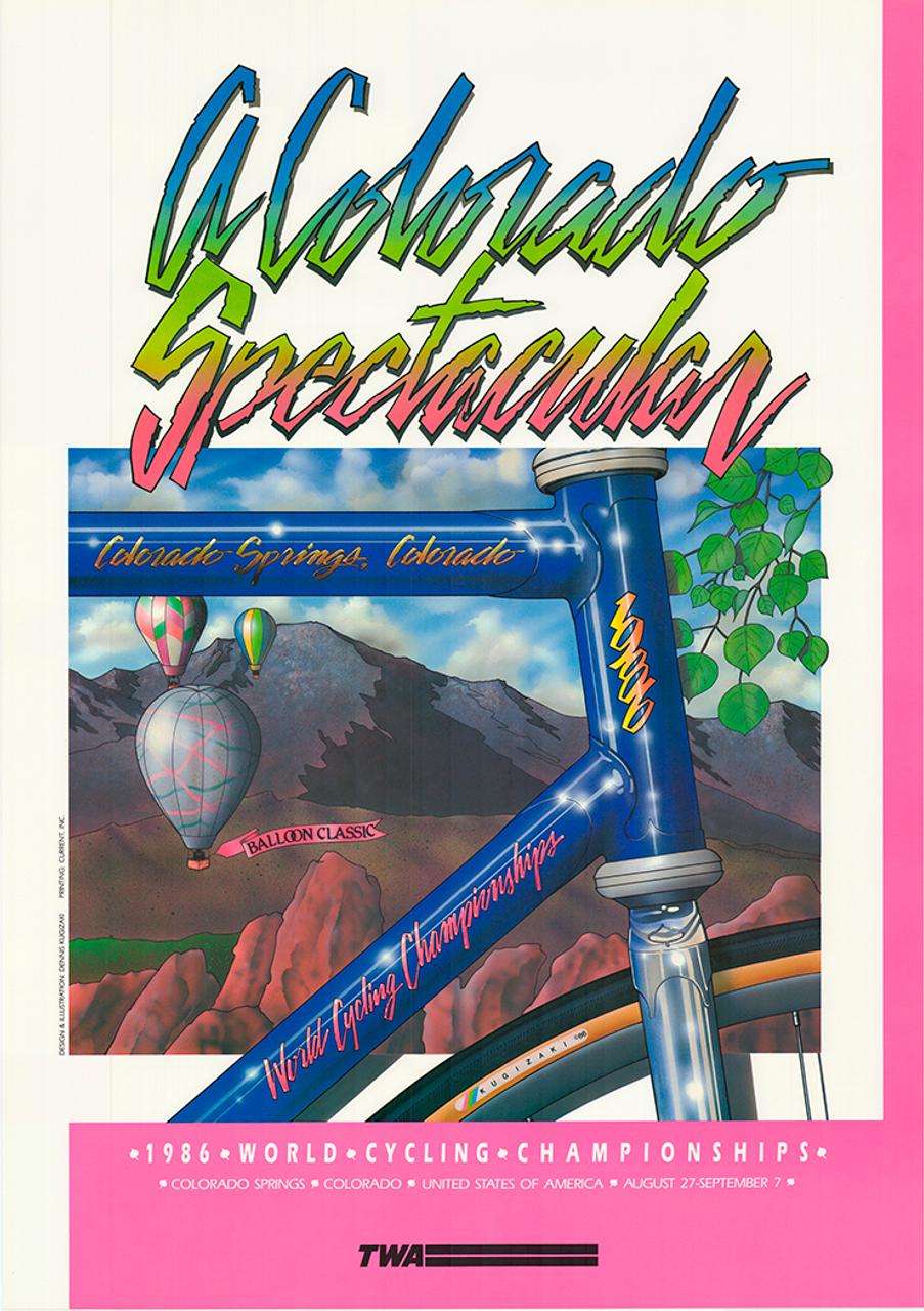 1986 World Cycling  Championships, Colorado Springs Original Vintage Bicycle Poster