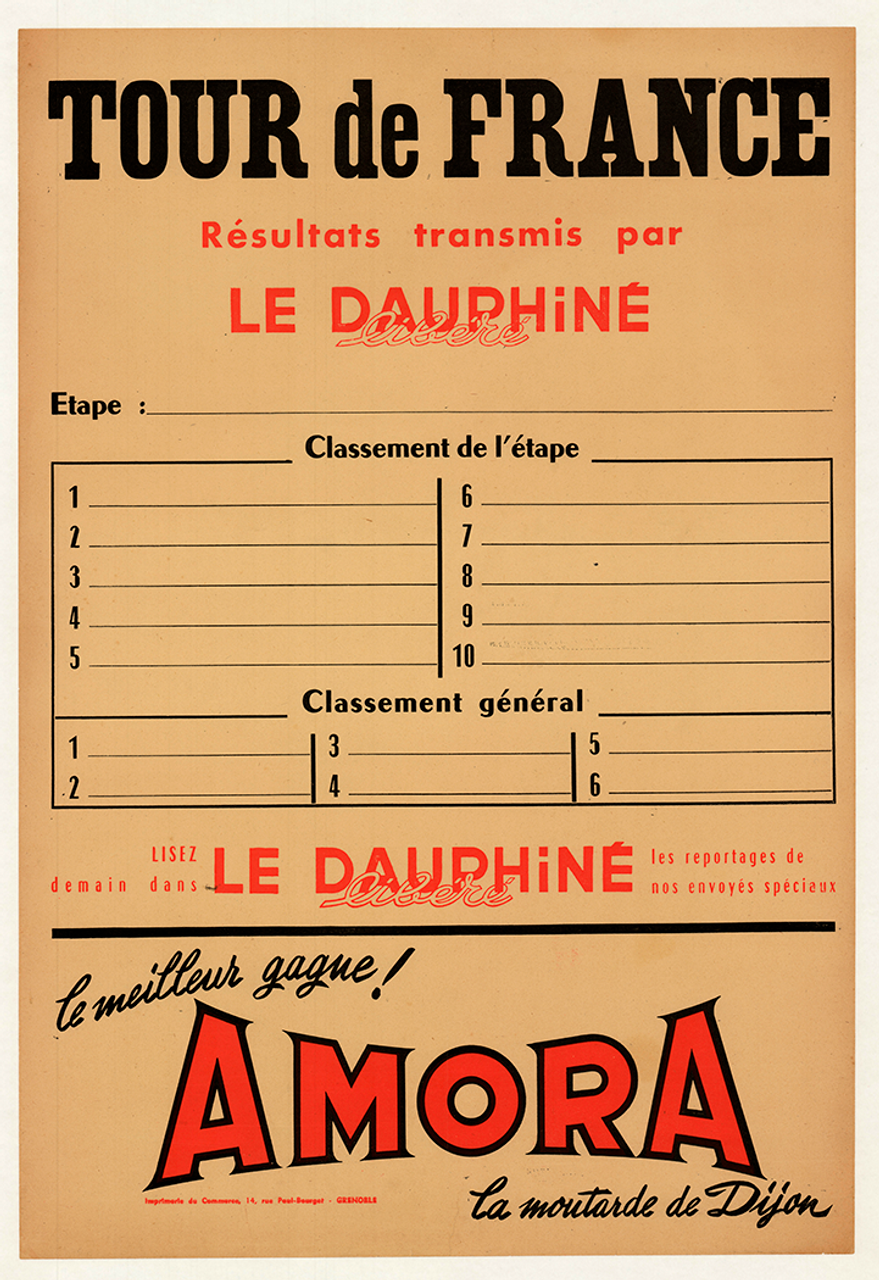 1950's Le Dauphine Libre Tour De France Original Vintage Bicycle Poster
