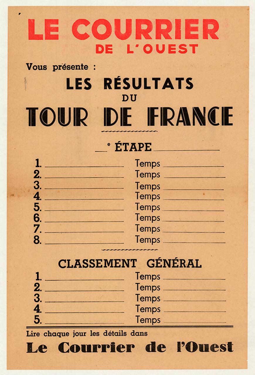 1950's Le Courrier Tour De France Original Vintage Bicycle Poster