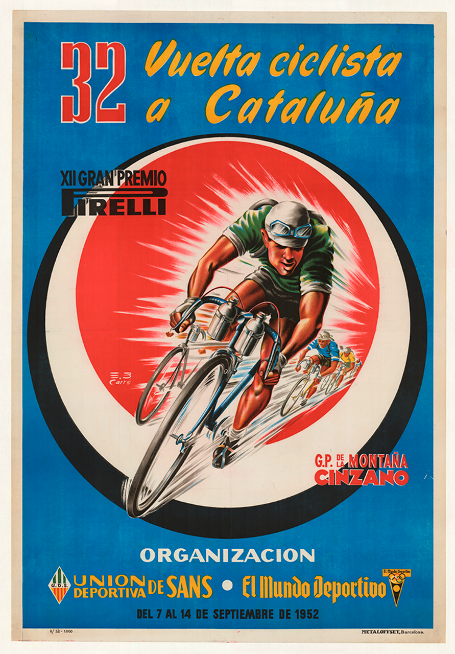 1952 Vuelta Ciclisme a Cataluna original vintage bicycle poster