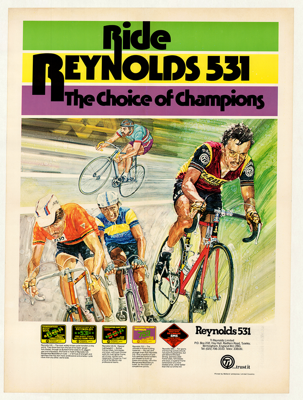 Reynolds 531 Steel Bicycle Frame Tubing Poster