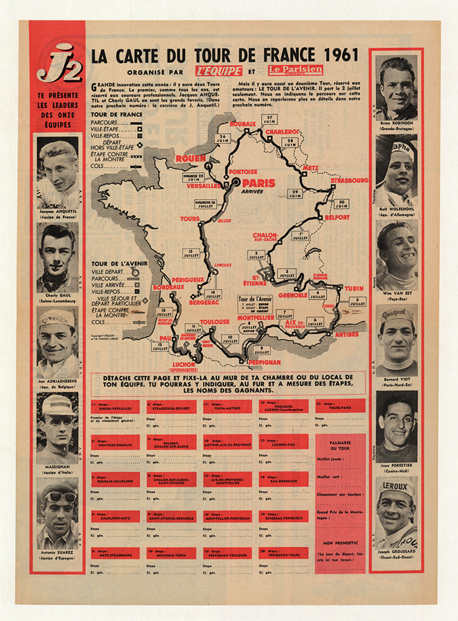 1961 Tour De France Original Vintage Map Bicycle Poster