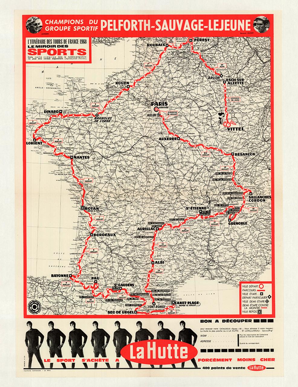 1968 Tour De France Original Vintage Map Bicycle Poster