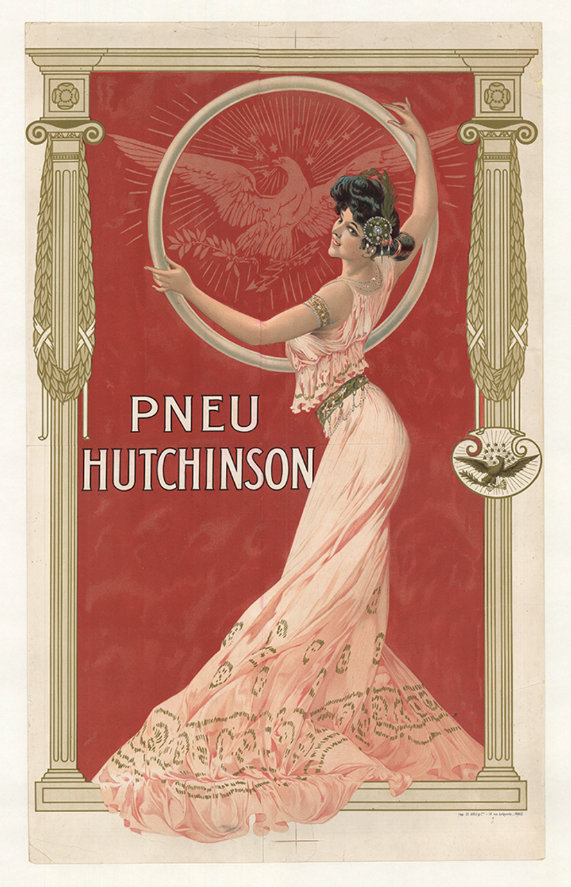 Pneu Hutchinson Tires Original Vintage Bicycle Poster