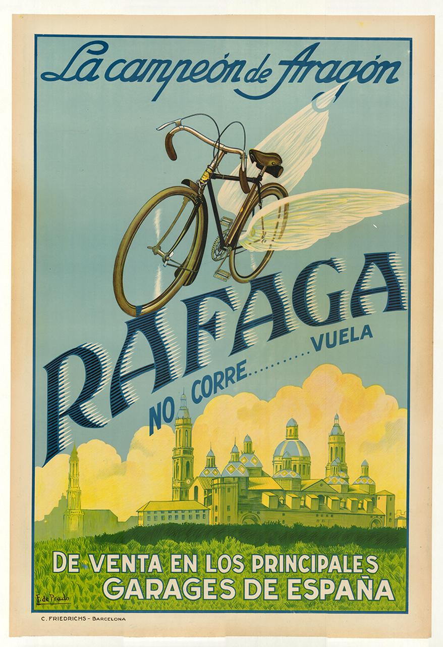 Rafaga Original Vintage Spanish Bicycle Poster by F. de Prado