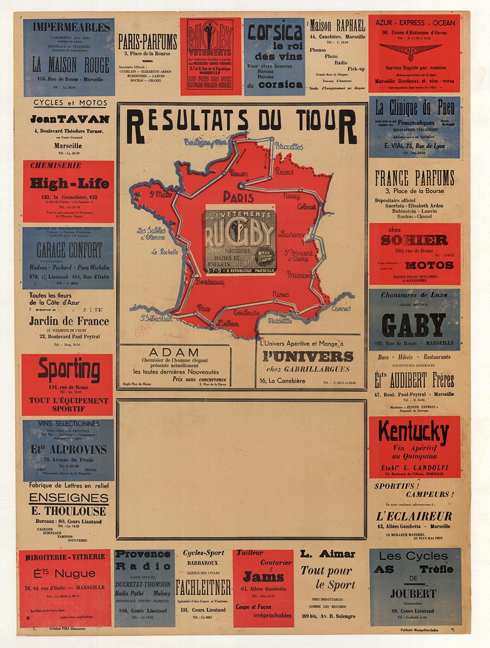 1950 Résultats du Tiour Tour de France Bicycle Map Poster