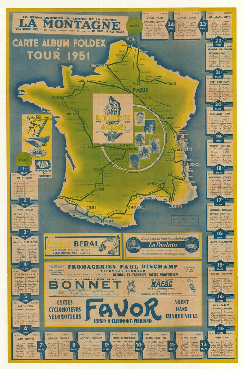 1951 La Montagne Tour de France Bicycle Map Poster