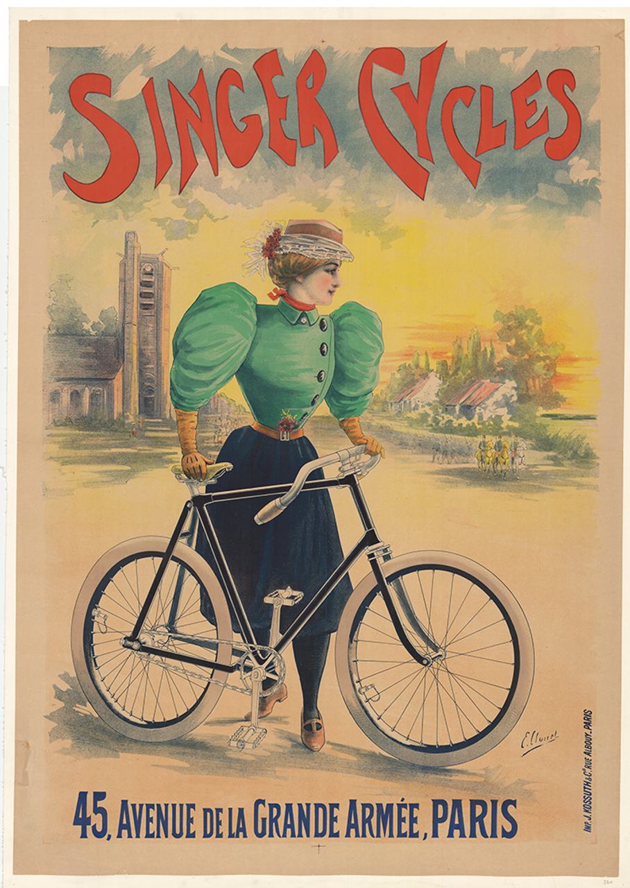 Cycles Singer Original Vintage  Bicycle Poster by Clouet