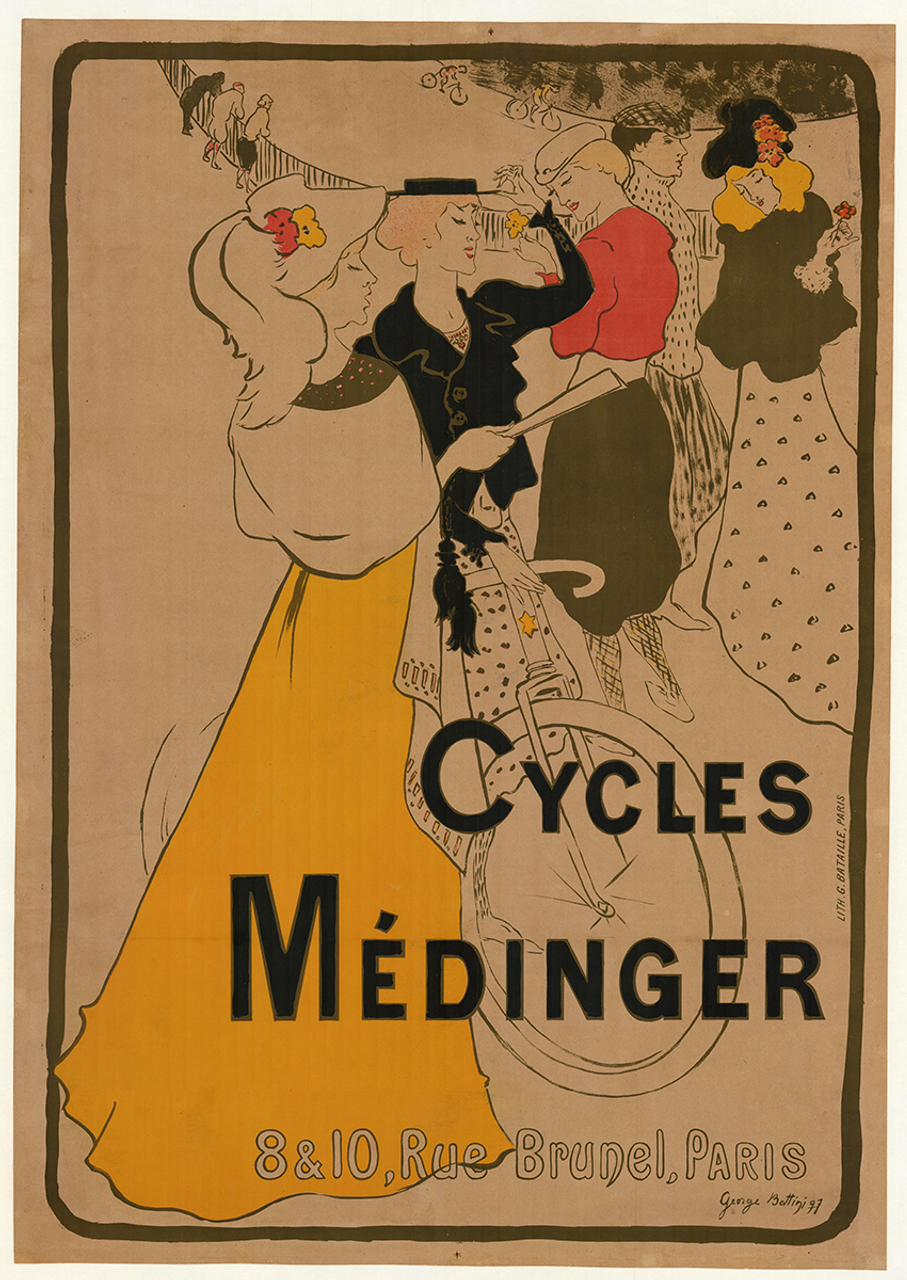 Cycles Medinger Original Vintage  Bicycle Poster by Georges A. Bottini