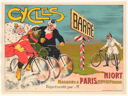 Horizontal original vintage cycling posters and bicycle