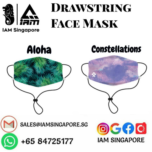 Drawstring Face Mask - Aloha & Constellations