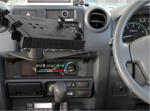 Custom Vehicle Dashboard Mount with Universal Laptop Cradle