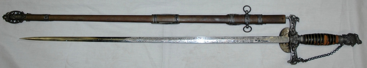 "Knights of Pythias Sword Inscribed to ""Geo. Williams"" w/Scabbard"