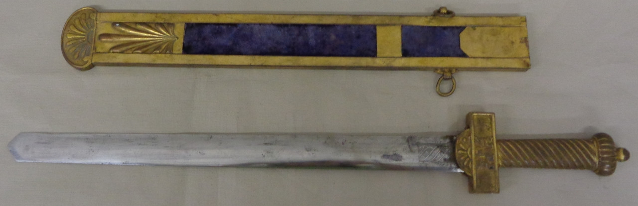Henderson Ames Co. Lodge Sword with Brass & Velvet Scabbard