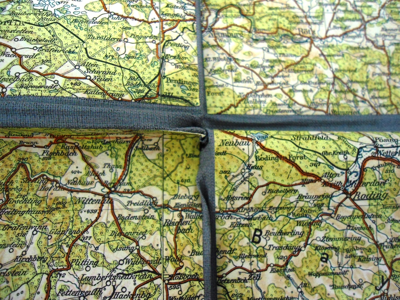 German WWII(?) Era Road Map on Fabric Background