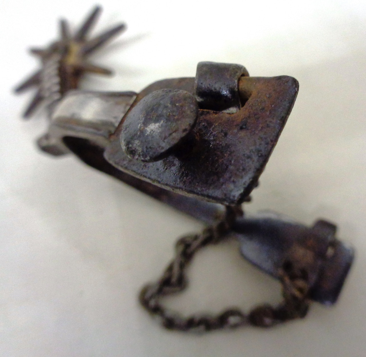 Spanish Colonial Spur with Silver Inlay - Single