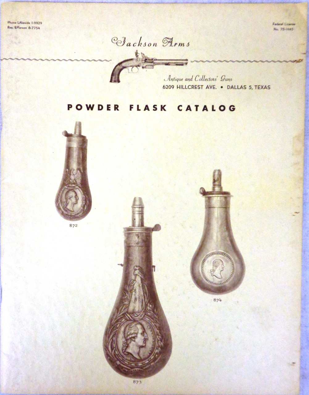 Jackson Arms Powder Flask Catalog circa Late 1950's or Early 1960's