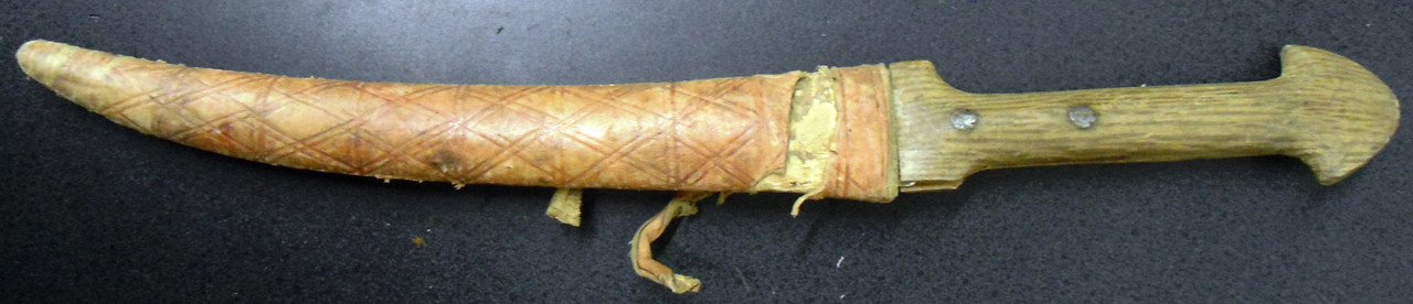 North African Knife with Leather Wrapped Wood Scabbard
