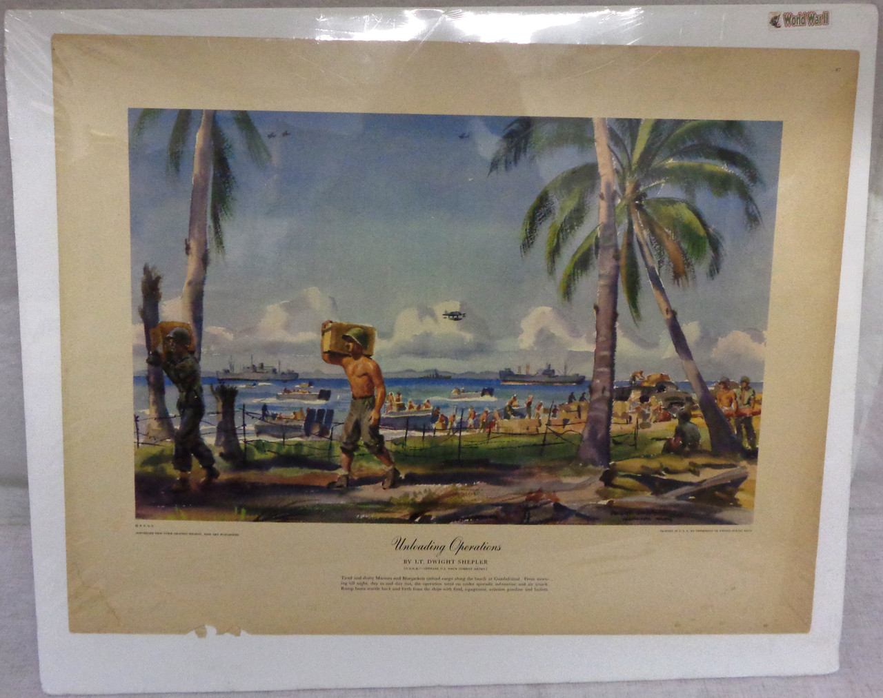 Unloading Operations WWII Water Color Print by Lt. Dwight Shepler