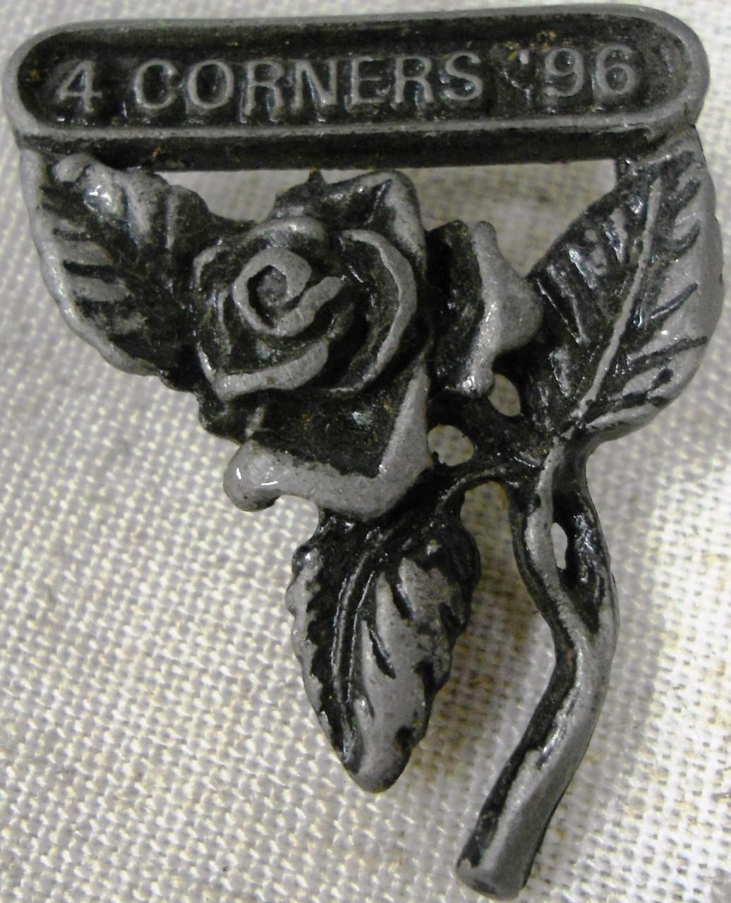 Pewter 4 Corners 1996 Rose Pin