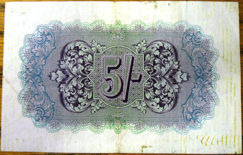British Military Authority Bank Note - 5 Shillings