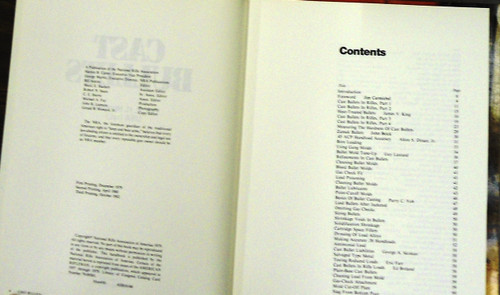 Cast Bullets by Col. E.H. Harrison USA (ret.) copyright and contents pages