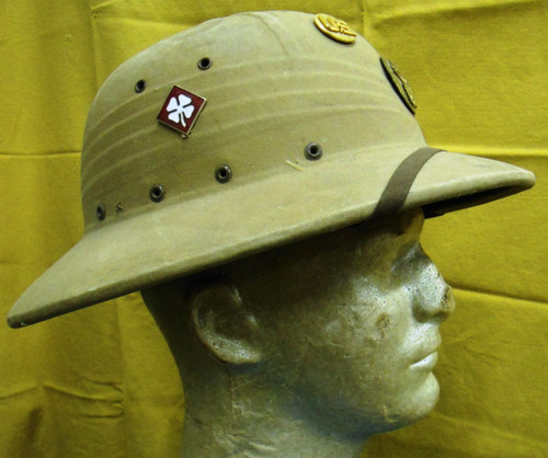 U.S. Korean War Era Pith Helmet w/Badges & 2 Name tags