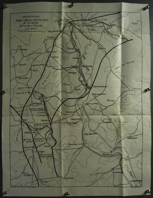 U.S. 90th Division 1918 Map of France