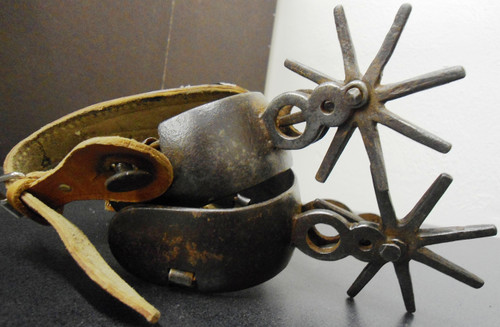 Mexican Iron Spurs - Pair - with Decorated Leather Straps