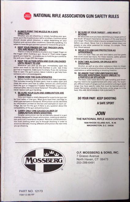 Mossberg Model 500 Pump Action Shotgun Owner's Manual