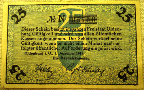 German Pre-WWII 25 TFennig Paper Currency