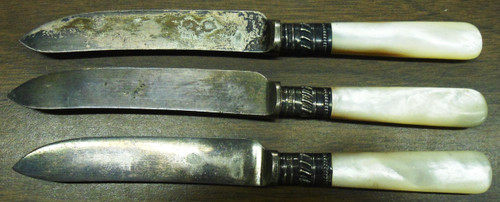 Sheffield Silver Plated Small Pearl Handled Knives - Set of 3