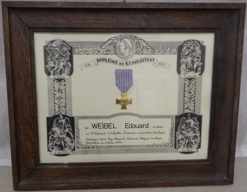French Resistance Veterans Certificate Framed with Medal