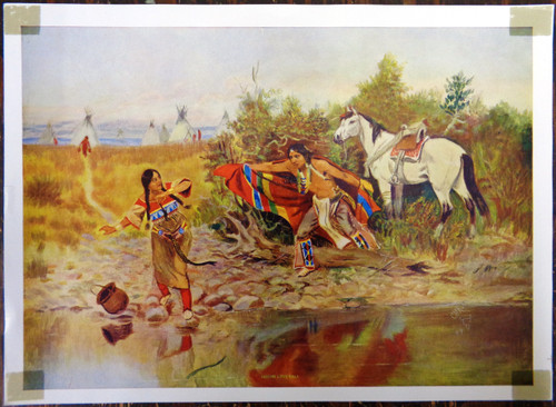 """Charles M. Russell Print Titled """"Indian Love Call"""""""