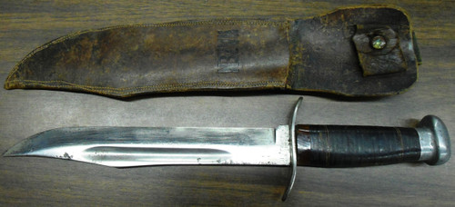 "WWII Theater Knife Marked ""G.W. Hazen"" with Leather Sheath"