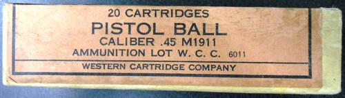 Western Cartridge Co. Pistol Ball Cartridge Box and Ammo