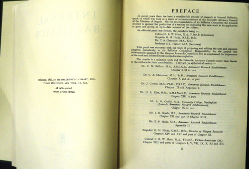 Internal Ballistics Published by the Philosophical Library 1951