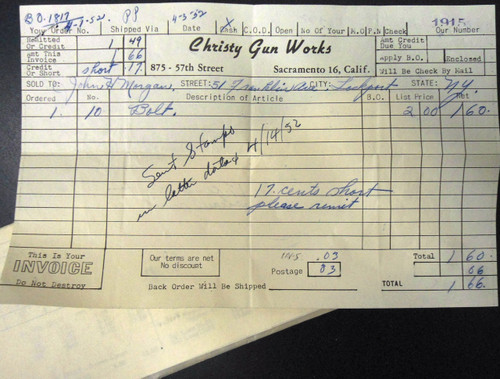 Christy Gun Works Invoice dated 1952