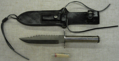 Edge Co. Stainless Steel Survival Knife w/Scabbard, Stone, & Kit